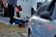 Amanda Westmoreland reacts as she approaches the scene of a shooting Tuesday evening in York County. Westmoreland's friend, Dylan Peters, was killed after being shot several times through the front door of his home. (Jonathon Gruenke/Daily Press)