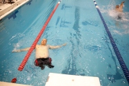 Team Marine's Chuck Sketch competes in the 50-meter backstroke during the 2015 Warrior Games at Freedom Aquatic Center in Manassas, Va., on Saturday, June 27, 2015. Sketch is blind and had both legs amputated and competed in swimming, cycling and shooting.
