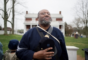 Robert Ford with the 41st U.C. Colored Troop stands in silence during the Bells Across the Land, 150 years after the end of the Civil War.