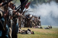 Confederate soldiers lay dead during the Appomattox Historical Society's re-enactment of the Battle of Appomattox Court House.
