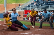 Warhill's Keely Rochard tries to tag out Brookville's Elexas Jefferies as Jefferies slides safe into home base during the Group 3A softball semifinals at Liberty University in Lynchburg, Va.