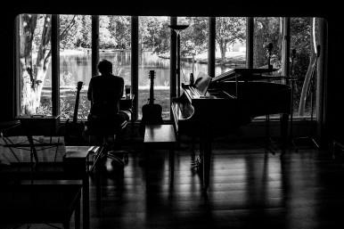 VIRGINIA BEACH, VA - OCTOBER 4: Phillip Roebuck works on a song in his studio on Saturday, Oct. 4, 2014 in Virginia Beach, Va.