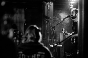 """CHESAPEAKE, VA - NOVEMBER 20: Spit flies as Phillip Roebuck belts out a song at The Riff House on Thursday, Nov. 20, 2014 in Chesapeake, Va. The venue is known for having hard rock and heavy metal acts, but is hosting an """"Americana Night"""" this evening."""
