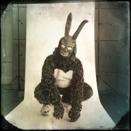 """Cameron Allen, 29, cosplays as Frank the Bunny. Allen said he chose his character because """"Frank the Bunny is one of my favorite movie characters from Donnie Darko, he tries to get Donnie to understand time travel and why the world was ending. He is dark and quite misunderstood. Like a demonic bunny version of Alice in Wonderland's Cheshire Car. Truly a fan favorite."""""""