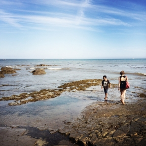Levi-Joseph and Jasmine search for sea life in the tide pools at Cabrillo Beach in San Pedro, California. Jasmine's father used to take her to the same shoreline to search for marine life when she was a young girl. Jasmine wanted our son to share in those memories and to make some of his own.
