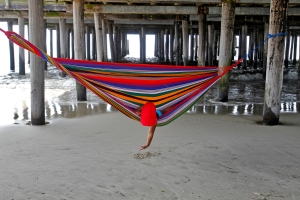1st place, Feature: Erica Carcamo, 4, plays in the sand while laying in a hammock as waves wash ashore underneath the pier of Buckroe Beach Friday morning. (Jonathon Gruenke/Daily Press)