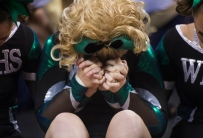 Wilson Memorial High School cheerleaders hold hands awaiting the results of the Group 2A cheerleading state championship in Richmond on Nov. 8, 2014.