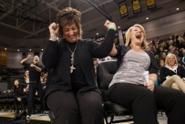 Wilson Memorial cheerleading coaches Renae Bailey, left, and Shannon Capriotti, right, celebrate the final moments of their team's Group 2A cheerleading state championship winning performance in Richmond on Nov. 8, 2014.