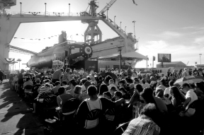 --News Picture Story 3rd Place: Jonathon Gruneke/Daily Press--Guests find their seats prior to the christening of the submarine John Warner SSN 785 Saturday evening at Newport News Shipbuilding.