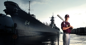 Chase Pinder of Poquoson High is the baseball player of the year. Pinder is in front of the USS Wisconsin. The Wisconsin first saw action in the Pacific in 1944 and served her final combat mission during Desert Storm.