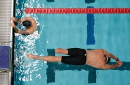 Army's Brian Boone warms up before the start of preliminary heats in the swim competition at the 2014 Warrior Games in Colorado Springs, Colorado, on Tuesday, September 30, 2014.