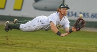 Hillcats centerfielder Clint Frazier dives and catches a line drive during Carolina League action at City Stadium.