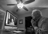 HM FEATURE: Bill Tiernan, Virginian Pilot--Norwood Thomas ,93, of Virginia Beach as he Skypes with Joyce Morris at her home in Australia Friday evening, November 6, 2015. During WWII she lived in England and was Joyce Durrant, the girlfriend of Thomas, a D-Day paratrooper with the Army's 101st Airborne Division. They lost contact after the war but reconnected in 2015. Thomas flew to Australia in February 2016 to visit Joyce, seeing her for the first time in 70 years.