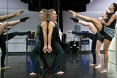 "HM FEATURE: The' Pham, Virginian Pilot--Todd Rosenlieb reacts as his dancers Emma Raker, back, Courtney Coirin, center, and Janelle Spruill, right, going through the routines during the rehearsal of To Be Frank segment for the 10th Anniversary at Todd Rosenlieb Dance in Norfolk, Va., on Nov. 4, 2015. The dancers are preparing for the upcoming Nov. 13 and 14 show that celebrates the 10th anniversary of Todd Rosenlieb's professional dance company, the only professional dance company in the areas in Norfolk, Va. ""Humor in Dance is the signature in my work,"" says Rosenlieb."