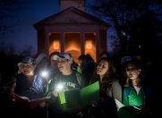Sweet Briar College students sing Christmas carols at the annual lighting of the Christmas tree on campus. The yearly traditions found at Sweet Briar College are all the more sweet this year after it was announced last March that the all women's college, founded in 1901, will be closing because of financial reasons. After alumna and students rally together to raise enough money to save the school, over 250 students came back for this fall semester.
