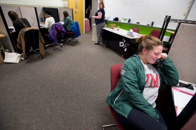 Sweet Briar College students make phone calls to alumnae to raise money for the struggling school.