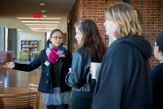Sweet Briar College sophomore Samantha Yew gives a tour to prospective students. The future of Sweet Briar College is dependent on attracting new students to the school.
