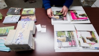 """Student ambassadors"" prepare material to send to prospective students in the admissions office on the campus of Sweet Briar College."