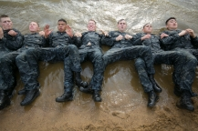 Plebe's participate in the annual Sea Trials exercise at the U.S. Naval Academy in Annapolis, Md., on Tuesday, May 12, 2015. The event, modeled after the Marine Corps' Crucible and Navy's Battle Stations events, runs over 14 hours and tests the plebes' physical and mental endurance.