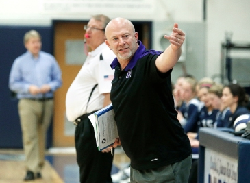 James River Head Coach Joe Sullivan calls out to a player on the bench during their game with Douglas Freeman.