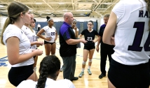 James River Head Coach Joe Sullivan talks to his team after Douglas Freeman pulled way ahead of them.