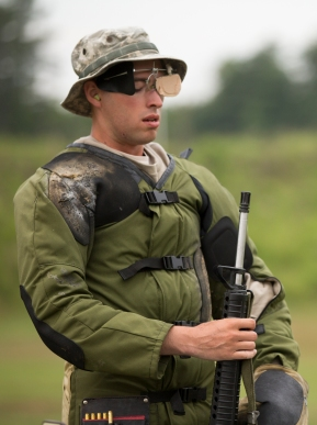 Sgt. Kristoffer Friend, of the Army Reserve Marksmanship Team, steadies his breathing before competing at the 54th Interservice Rifle Match held at Quantico Va., on Tuesday, June 30, 2015.