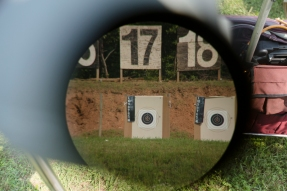 A scope's view of the targets at the 54th Interservice Rifle Match held at Quantico Va., on Tuesday, June 30, 2015.
