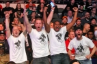 Fans of Raymond Daniels cheer as he competes against Jonatan Oliveira during Friday's tournament presented by Glory Sports International at the Hampton Coliseum.