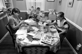 Karen Garner eats dinner with Bradley and Frankie Tuesday evening April 26, 2016. Jim Garner died from Alzheimer's April 2, 2016.