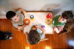 (From left) Finnegan, James and Brandon Brehony eat breakfast on Wednesday morning April 27, 2016. The boys are triplets and the first kids for parents Kate Bredimus and Matt Brehony.