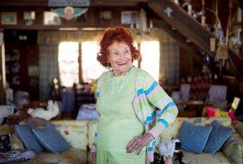 Julia Manherz, 94, poses in her living room in Wintergreen. Manherz was an actress and modeling coach is her early years.