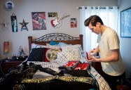 With his jumpsuit on his bed, Taylor Rodriguez gets ready for a performance at his home in Goode. ÒThey start about $2,000 and up,Ó Donna Rodriguez says about the cost of the jumpsuits. Ò[Overall] itÕs gotta be about $50,000. É You consider the shoes, the belts, the jackets. Rings - theyÕre anywhere from $150 and up.Ó