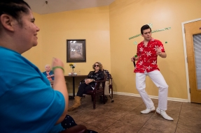 Taylor Rodriguez performs at Carriage Hill Assisted Living. The Assisted Living facility was the first assisted living to hire Rodriguez and he still tries to go back and perform often, sometimes once a month. ÒThey mean a lot to me too,Ó he says. ÒThe people there, IÕve known since I started. They saw me improve and improve - which I hope I am improving.Ó