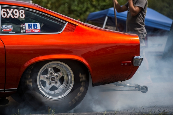 A driver performs a burnout before racing at the New London Dragstrip on Sunday September 11, 2016 in Forest, Va.