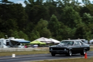 A car speeds down the raceway at the New London Dragstrip on Sunday September 11, 2016 in Forest, Va.