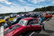 Cars line up in the staging area before racing at the New London Dragstrip on Sunday September 11, 2016 in Forest, Va.
