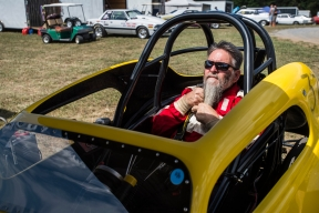Jerry Wayne Queen adjust his beard as he gets situated in his dragster before racing at the New London Dragstrip on Sunday September 11, 2016 in Forest, Va.