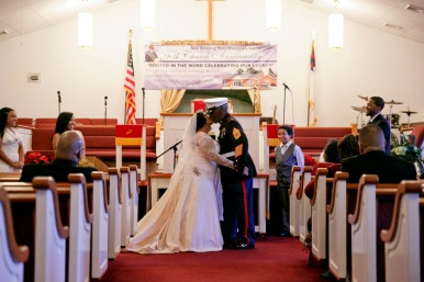 Elizabeth and Arthur Lawrence Sr., share a kiss at the end of their wedding at New Weeping Mary Missionary Baptist Church in Chesapeake, Va., on Saturday, December 10, 2016. The couple has been married for 50 years but due to LawrenceÕs military career, they were unable to have a planned wedding and married in a quick ceremony in 1966.