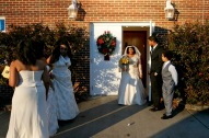 Elizabeth and Arthur Lawrence Sr., center, exit the church with their children and grandchildren following their wedding ceremony at New Weeping Mary Missionary Baptist Church in Chesapeake, Va., on Saturday, December 10, 2016 following their wedding. The couple has been married for 50 years but due to LawrenceÕs military career, they were unable to have a planned wedding and married in a quick ceremony in 19