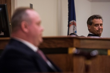 Judge John T. Cook listens as former Altavista police chief Kenneth Walsh testifies during a sentencing hearing in Campbell County Circuit Court on Wednesday October 5, 2016 in Rustburg, Va. Walsh was convicted of 15 felonies earlier this year and sentenced to six years total, with all but one being suspended.