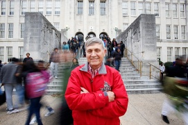 Russell Flammia was a Thomas Jefferson High School graduate, then taught at the school as a teacher for 34 years and now continues to volunteer with the Thomas Jefferson students. He stands outside of the high school he graduated from, as students stream out after the final bell on Wednesday Dec. 14, 2016.