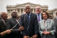 1st Place General News: John Shinkle, Politico--Rep. John Lewis (D-Ga.) gives a passionate thank you speech to the supporters that waited outside the House overnight during the Democrats attempt to force a vote on gun safety legislation on June 23, 2016.