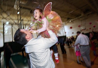 Anna Bothel, 4, loves to have her father, Andy Bothel of Rockingham County, toss her in the air as they dance in Harrisonburg, Va.