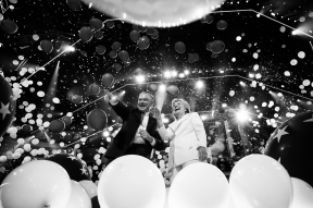 HM: Election: M. Scott Mahaskey, Politico--Former Sec. of State Hillary Clinton, alongside Vice Presidential candidate Sen. Tim Kaine, during a balloon drop following her speech to delegates to accept the nomination to become the nominee for president at the Democratic National Convention July 28, 2016 in Philadelphia, Penn.