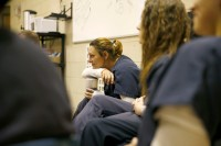 Patsy Garnett leans on her mug during a facilitated session at the Chesterfield County Jail on Oct. 19, 2016. She was one of the first four women in an opioid program in the jail.