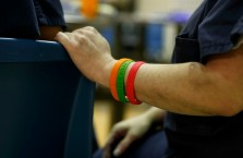Tomme Pantoni sports bands at the Chesterfield County Jail that represent time clean. Orange bands represent 30 days, green bands represent 60 days and red bands represent 90 days. Pantoni is part of an opioid program in the jail.