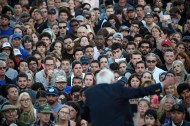 Presidential candidate, Bernie Sanders speaks at a rally at Colton Hall Lawn on Tuesday May 31, 2016 in Monterey, CA. He brought out large numbers of young voters as he campaigned for president.