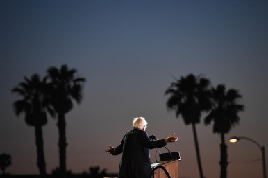 Presidential candidate, Bernie Sanders speaks at a rally at Santa Monica High School on Monday May 23, 2016 in Santa Monica, CA. He brought out large numbers of young voters as he campaigned for president.
