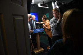 Presidential candidate, Bernie Sanders prepares to speak for a video to supporters at Polaris Mediaworks on Thursday June 16, 2016 in Burlington, VT. After losing the California primary, Sanders urged his supporters to continue the movement he had started.