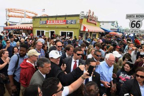 Presidential candidate, Bernie Sanders greets people at the Santa Monica Pier on Sunday June 05, 2016 in Santa Monica, CA. The primary in California is June 7th. He campaigned heavily in California, but ultimately lost the primary. He worked with Hillary Clinton to shape the Democratic platform going into the general election.